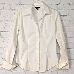 Women's White Button Front Fitted Shirt